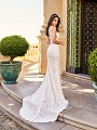 Val Stefani D8171A Santorini sexy vintage unlined wedding dress with sheer illusion insets and short train