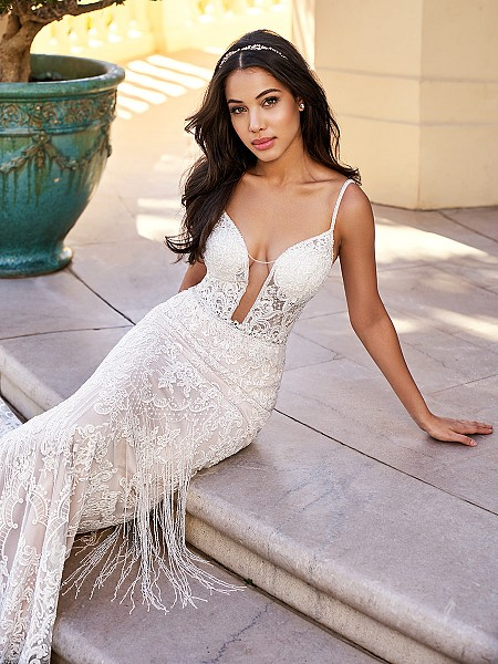 Val Stefani D8171A Santorini ultra-sexy unlined mermaid wedding dress with plunging neckline