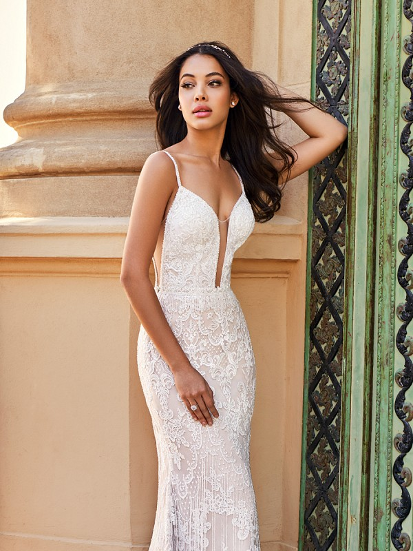 Val Stefani D8171B Santorini-James sexy bohemian lace beaded fringe slim fit wedding gown