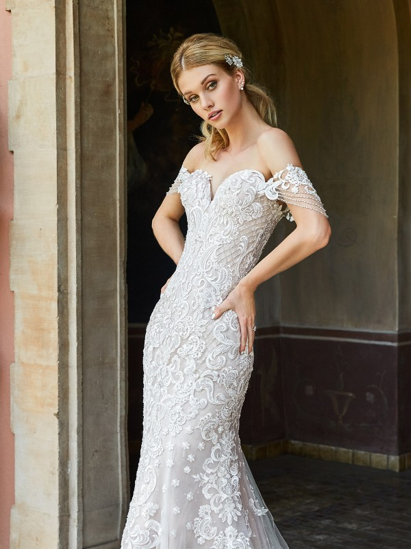 ValStefani AMALFI sweetheart off-the-shoulder wedding dress with embellished swag sleeves