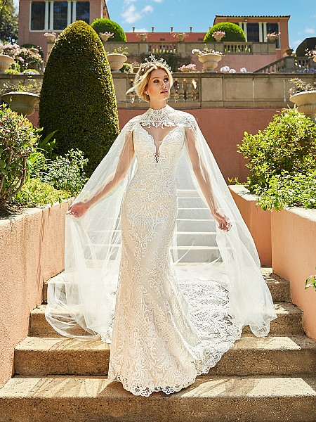 ValStefani CADENZA Deep v neck all over lace wedding dress with illusion lace panels & optional detachable bridal cape