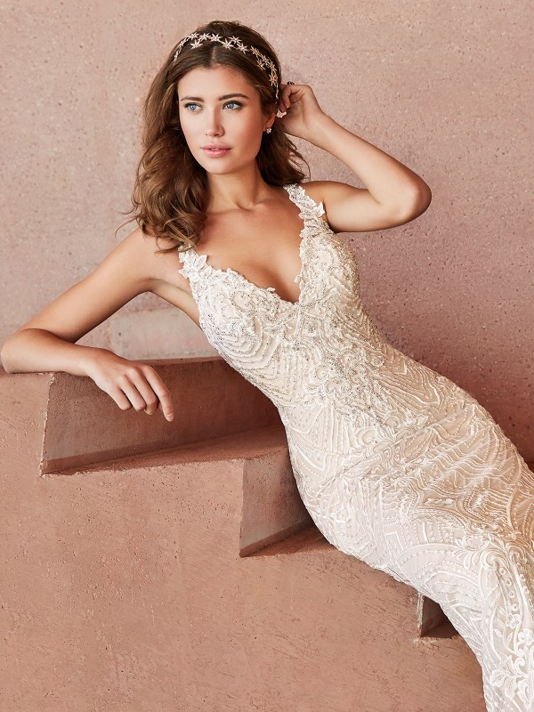Val Stefani ARABESQUE V-neck with straps embroidered lace fabric bridal gown with Swarovski crystals and rhinestones beading