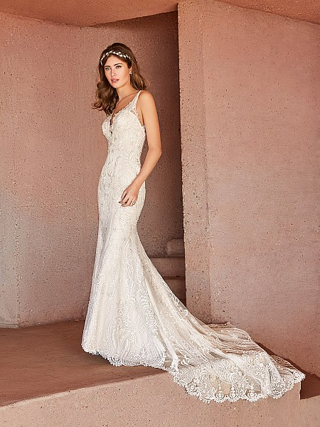 Val Stefani ARIETTA lavish beaded lace over sequin net mermaid bridal gown with semi-cathedral train
