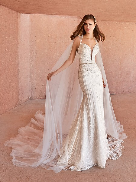 Val Stefani CELESTA Swarovski crystals beaded lace fabric mermaid bridal gown with detachable cape