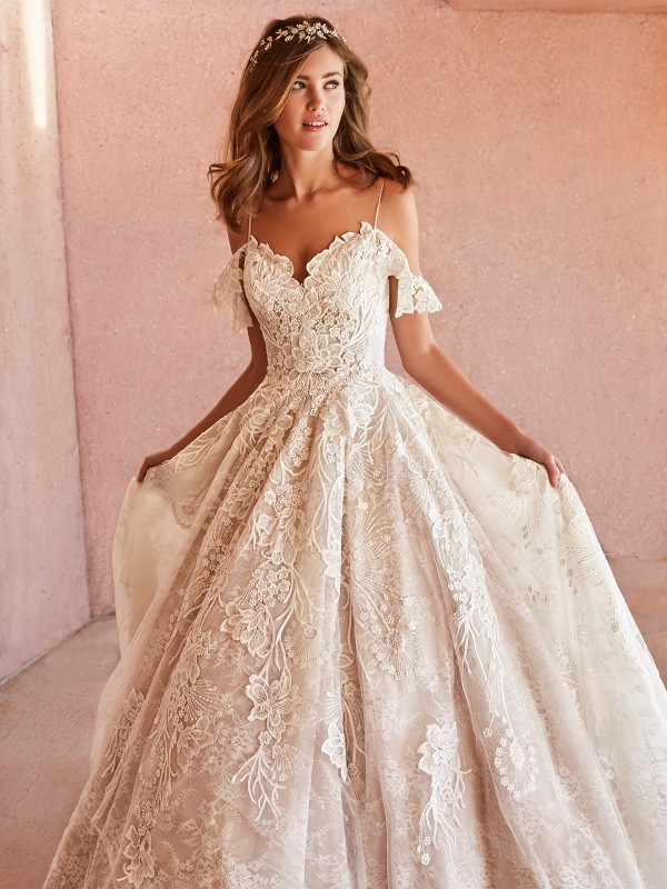 Val Stefani HARPER re-embroidered lace ball gown with sweetheart neckline and swag sleeves