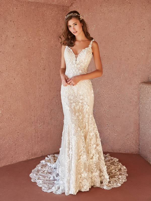 Val Stefani OTTAVIA figure-flattering lace mermaid bridal gown with deep V-neck and beadings
