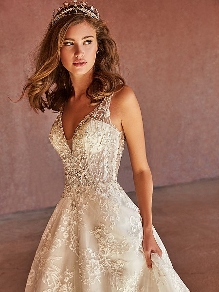 Val Stefani THALIA sexy deep V-neck lace appliques and beaded unlined bodice bridal gown