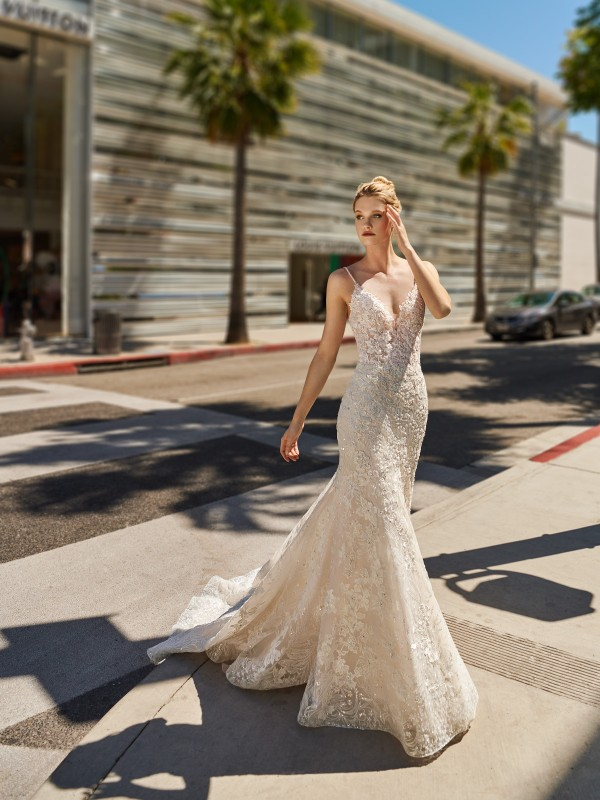 Val Stefani NOVA shimmery star mermaid wedding dress with sweetheart neckline and beaded straps