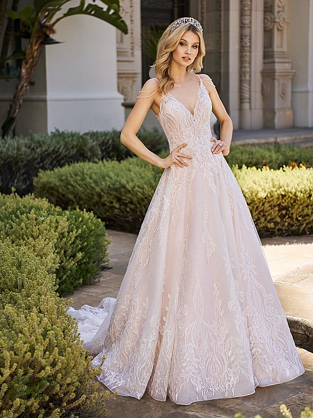 Val Stefani CARINA shimmer net A-line bridal dress with deep v-neck and crystal beading