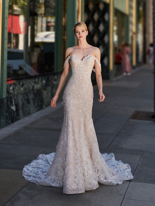 Val Stefani VIRGO autumn shimmer tulle mermaid dress with sweetheart neckline and swag sleeves