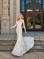 Val Stefani LYNX vintage lace mermaid gown with sweetheart neckline and illusion lace sleeves
