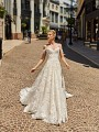 ValStefani PEGASUS sparkly tulle bridal ball gown with sweetheart neckline and off the shoulder sleeves