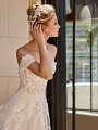 ValStefani PEGASUS brushed shimmer tulle ball gown with lace swag sleeves
