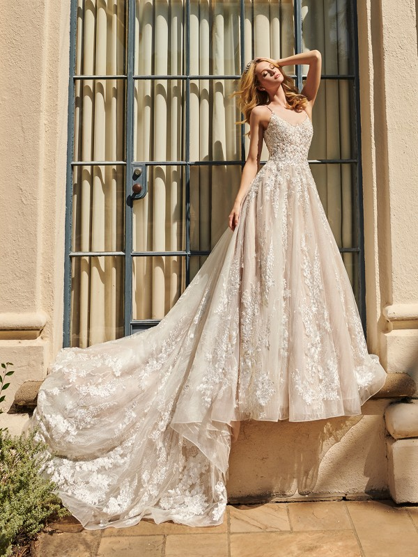 ValStefani PHOENIX stardust tulle lace wedding dress with scoop neckline and beaded straps