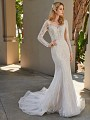 ValStefani HYDRA brushed shimmer tulle mermaid wedding dress with long lace sleeves