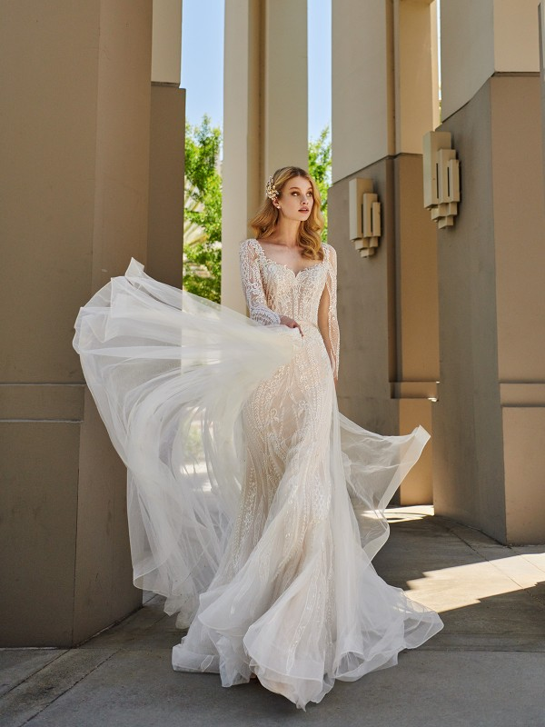 Val Stefani HYDRA lace mermaid wedding dress with long sleeves and overskirt train