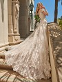 Val Stefani AQUARIUS shimmer tulle bridal ball gown with swag sleeves and semi-cathedral train