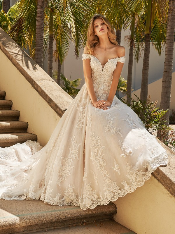 Val Stefani AQUARIUS sequin ball gown with off the shoulder sleeves and sweetheart neckline