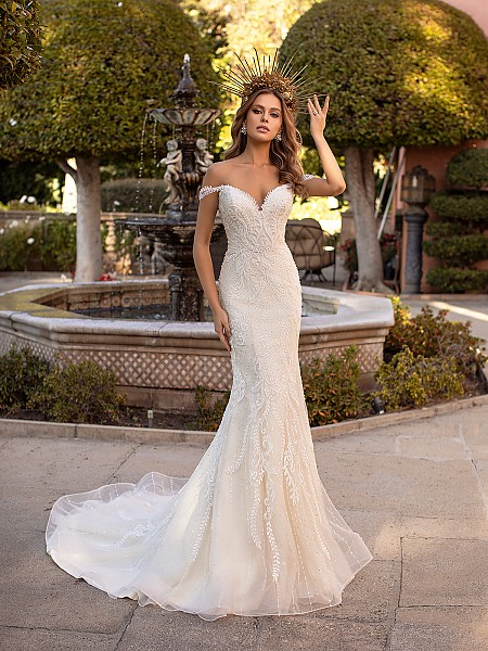 Sexy Off-the-Shoulder Lace Mermaid Wedding Dress with Sweetheart Neckline Val Stefani Alina D8241