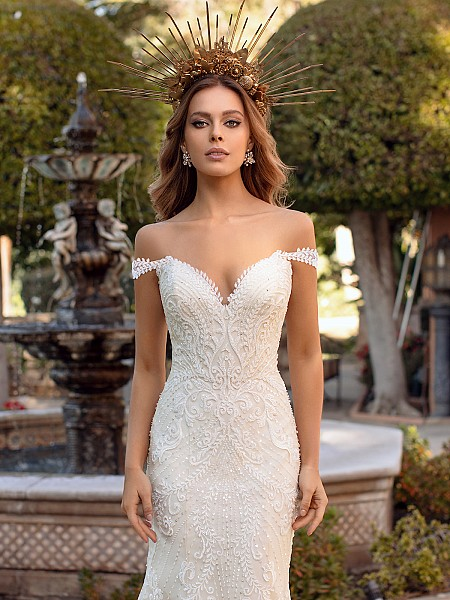 Glamorous Lace and Beaded Bodice with Swag Sleeves and Sequin Sparkles Val Stefani Alina D8241