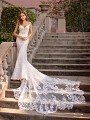 Thin Strap All Lace Mermaid Wedding Dress with Sweetheart Neckline Val Stefani Gala D8244