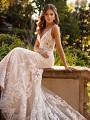 Lace Sweetheart Neckline Mermaid Bridal Gown with Thin Beaded Straps and Sheer Bodice Val Stefani Gala D8244