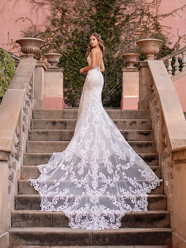 Low Beaded Back Lace Mermaid Wedding Dress with Beautiful Illusion Scalloped Cathedral Train Val Stefani Gala D8244