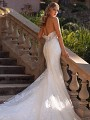 Strapless Open Illusion Back Lace Mermaid Wedding Dress Val Stefani Lux D8245
