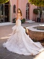 Open Illusion Back Fitted Bridal Gown With Cascade Tulle Skirt and Chapel Train Val Stefani Nura D8246