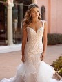 Lace Cap Sleeve Form Fitted Bodice with Sweetheart Neckline and Lace and Beaded Details Val Stefani Nura D8246