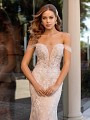 High Fashion Tulle Off-The-Shoulder Organic Lace Wedding Dress with Plunging Sweetheart Neckline and Beaded Bodice Val Stefani Zia D8250