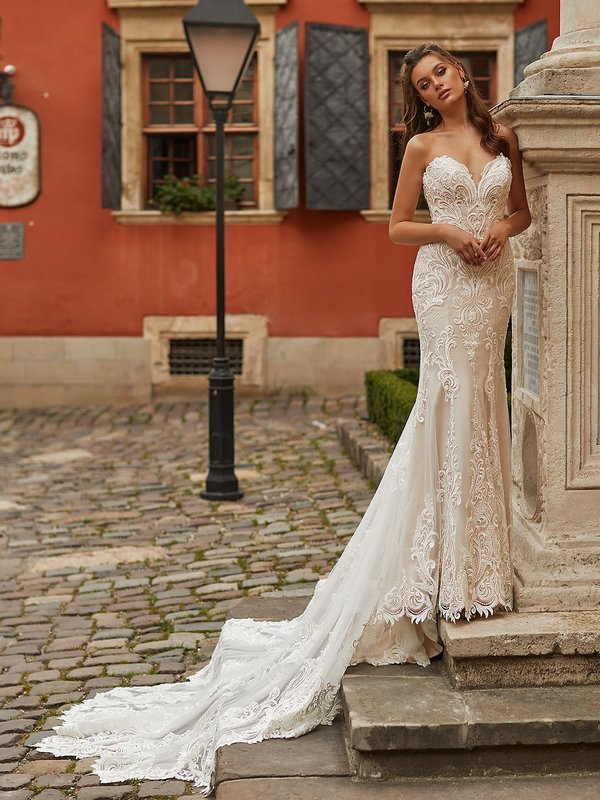 Val Stefani VIENNA Lavish Strapless Sweetheart Mermaid Gown with Illusion Inset and Filigree Re-Embroidered Lace Appliques
