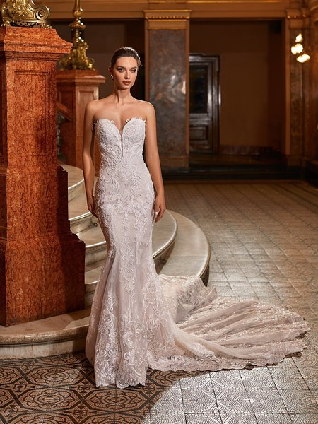 Val Stefani Bridal D8273 Sparkly Strapless Sweetheart Mermaid Wedding Dress With All-Over Filigree Lace And Illusion Plunge