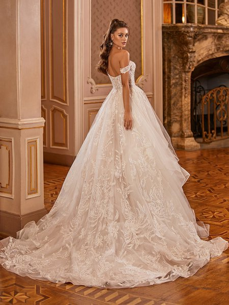 Val Stefani Bridal D8278 Sheer Off-The-Shoulder Open Back Wedding Gown With Long Cascading Sparkle Floral Lace Train