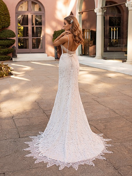 Delicate Open Tie Back Lace Wedding Gown  with Scallop Sweep Train Simple Val Stefani Lorelai S2168