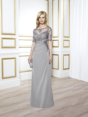 Val Stefani MB7413 sexy chiffon mother of the bride dress with lace elbow length sleeves and sheer bateau neckline front for formal occasions