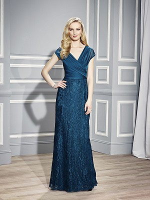 Val Stefani MB7442 designer chiffon mother of the bride curve enhancing evening dress with lace skirt and soft v-neckline for stylish weddings