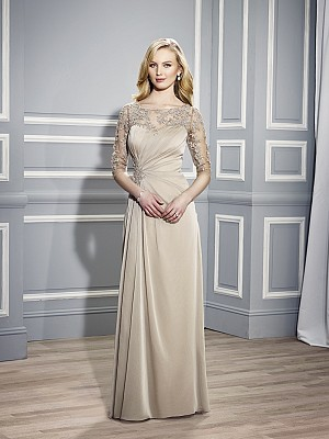 Val Stefani MB7445 sophisticated mother of the bride chiffon figure flattering evening gown with bateau neckline front for beautiful weddings