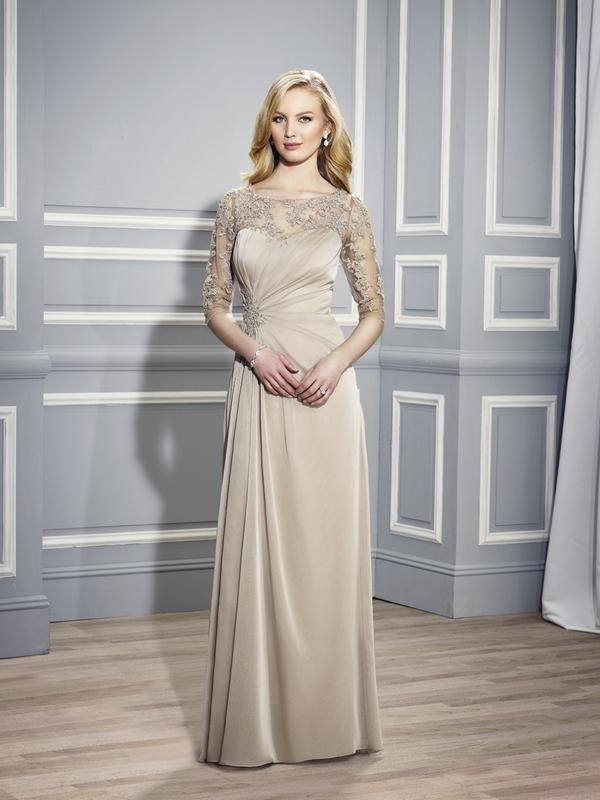 Val Stefani Celebrations MB7445 sophisticated special event gown with illusion neckline and sleeves