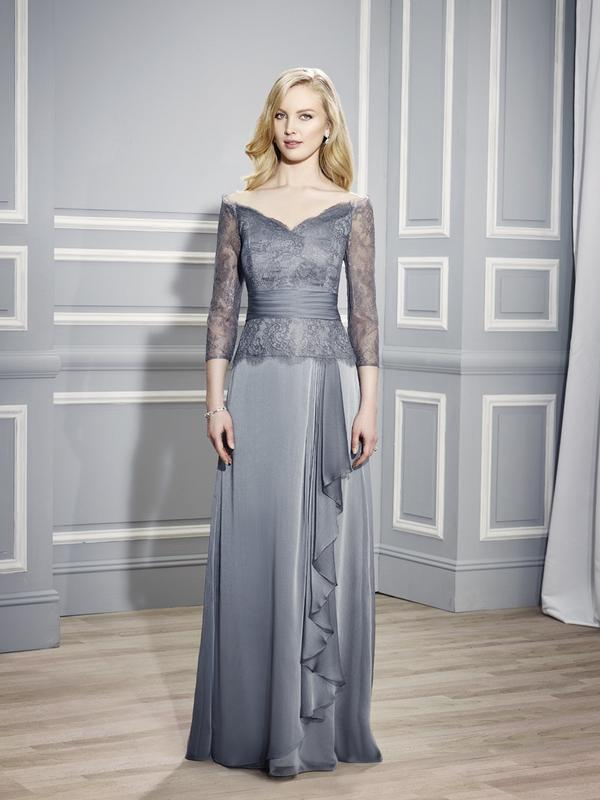 Val Stefani MB7450 mother of the bride A-line chiffon off-the-shoulder three-quarter sleeve evening gown with pleated sash and cascading ruffle along the front skirt for weddings