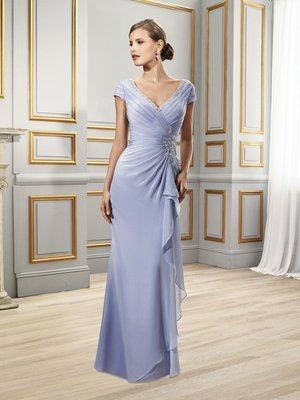 Val Stefani Celebrations MB7501 curve-enhancing mother of the bride gown with asymmetric waist