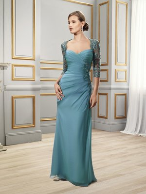 Val Stefani MB7502 elegant chiffon designer evening dress with lace 3/4 sleeves and sweetheart neckline front for a sophisticated southern wedding