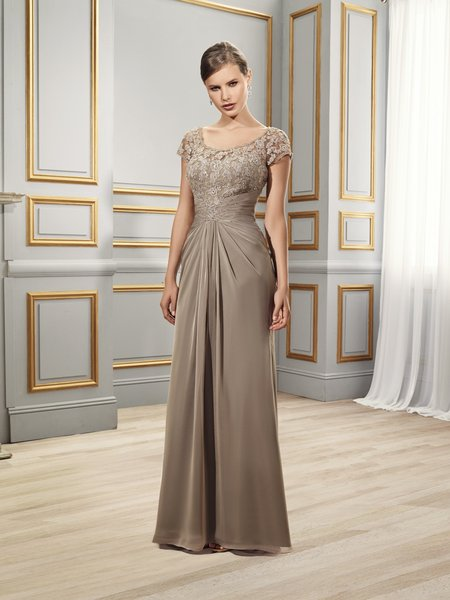 Val Stefani Celebrations MB7506 embroidered scoop neck formal gown with short sleeves