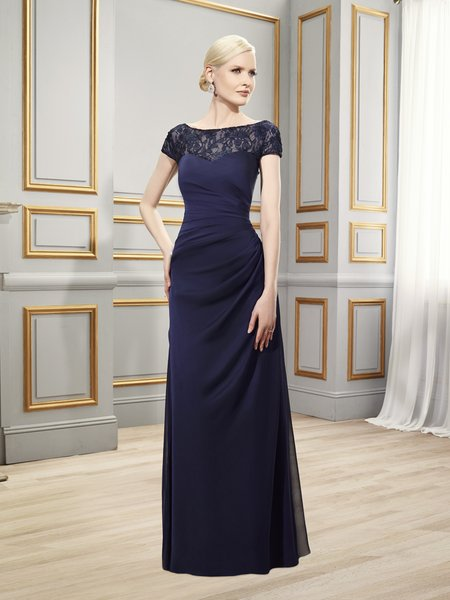 Val Stefani Celebrations MB7511 tiffany chiffon & chantilly lace formal evening gown with short sleeves