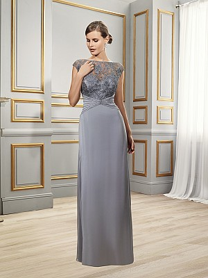 Val Stefani Celebrations MB7517 floor length tiffany chiffon mother of the bride gown