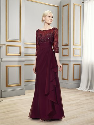 Val Stefani MB7518 modest coverage mother of the groom dress with 3/4 sleeves and combination of lace and chiffon on front for weddings