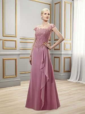 Val Stefani Celebrations MB7521 timeless trumpet floor length gown with front skirt cascade