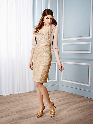 Val Stefani Celebrations MB7535 strapless Chantilly lace cocktail dress with matching jacket