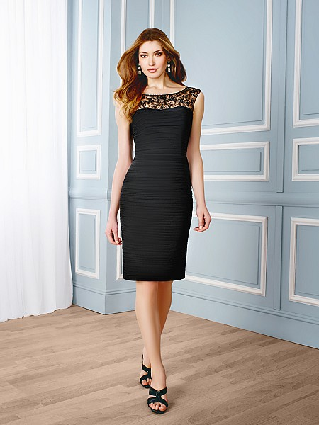 Val Stefani Celebrations MB7536 simple knee-length special occasion dress with illusion neckline