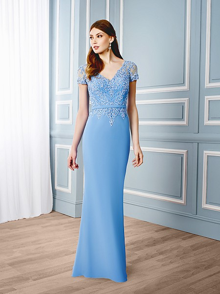 Val Stefani Celebrations MB7540 slimming illusion short sleeve special occasion gown with chiffon band